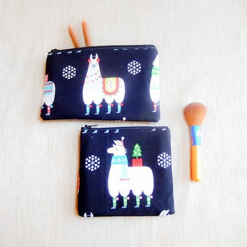 Llama Gift for Her/ Gift Set/ Make Up Bag/ BFF Gift/ Bridesmaid Gift/ Birthday Gift/ Gift for Mom/ Wife Gift/ Christmas Gift/ Coworker Gift