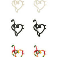 LOVEsick Music Clef Heart Earrings 3 Pair