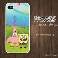 """Spongebob and Patrick star """"Friend Forever""""  : Handmade Case for Iphone 4/4s , Iphone 5 Case Iphone"""
