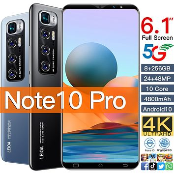 """Note 10 Pro SmartPhones 6GB 128GB Smart Phone 6.1"""" MTK 6763 10 Core Network Mobile Phones Android 10.0 4800mAh CellPhone Face ID"""
