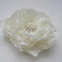 Romantic Ivory Satin Chiffon and Lace Bridal Flower Hair Clip Bridal Accessories Bride Bridesmaid Prom with Pearl and Rhinestone Accent