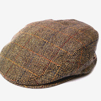 Vintage tweed hats brown mens tweed hats Dutch authentic wool tweed hats brown wool irish tweed hat fall hat gift for him harris tweed hat