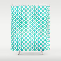 *Watercolored Quatrefoil Turquoise Patterned Shower Curtain by Ilola