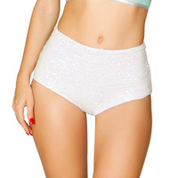 White Iridescent Sequin High-Waist Shorts