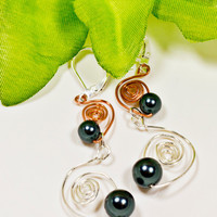 Unique Sterling Silver Leverback and Copper  Earrings, Sterling Silver and Copper Earrings, Tahitian Swarovski Pear and Silver Earrings,Gift