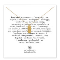 i am strong small dog tag necklace, gold dipped, 18 inch