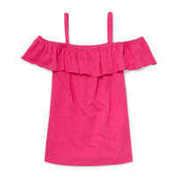 Girls Matchables Sleeveless Solid Cold-Shoulder Ruffle Top | The Children's Place
