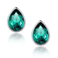 Eternal Love Teardrop Swarovski Elements Crystal Stud Earrings - Green