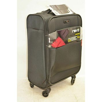"""$160 NEW Revo Airborne 20"""" Soft Spinner Suitcase Carry on luggage Gray"""