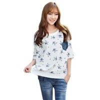 2016 Brand New Short Batwing Half Sleeve Plus Size T-shirts Female Floral Print t shirts Women Top 71062