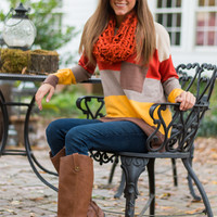 Colorblock Pocket Sweater, Tan/Orange