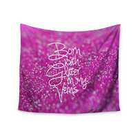 "Beth Engel ""Born with Glitter"" Pink Sparkle Wall Tapestry"