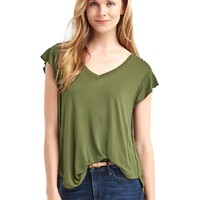 Drapey short sleeve V-neck tee | Gap