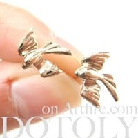 Love Birds Sparrow Dove Animal Shaped Stud Earrings in Rose Gold