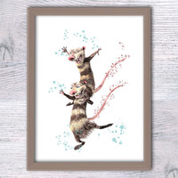 Ice age, The troublemakers, Crash and Eddie poster, Disney nursery wall art, Fun poster, Boys room, baby shower Ice age print, Kid room V131