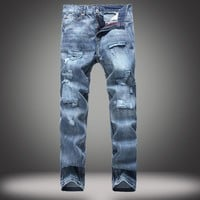 Ripped Holes Slim Baggy Jeans Jeans [10366809859]
