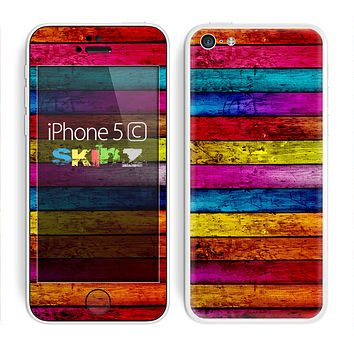 The Neon Color Wood Planks Skin for the Apple iPhone 5c