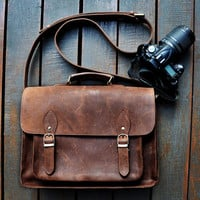 Handmade Leather DSLR Camera Bag Messenger Bag Leather Briefcase Shoulder Bag Boyfriend Gift