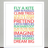 Prints for kids- BE A KID - Primary and Secondary colors - 8x10 Poster