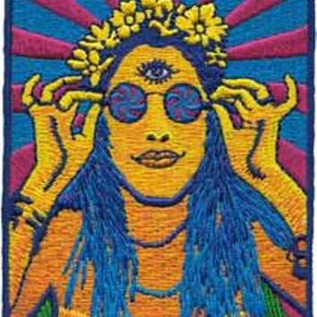 Hippie Chick Iron-On Patch Psychedelic