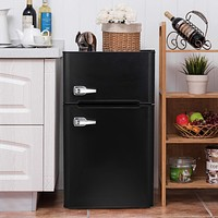 Bossin 3.2 CU. FT Compact Refrigerator 2 Door MIni Fridge Chiller and Freezer Compartment with Removable Glass Shelves Small Drink Food Storage Cooler for Office, Dorm, Apartment, Bedroom(Black) 3.2 cu.ft Black
