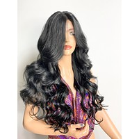 """24"""" BLACK WAND CURLS. Lovely long wand curly  lace front hair wig with middle part & fringe volume! 620"""