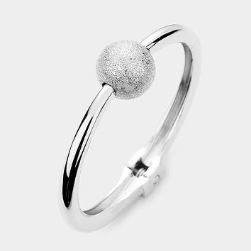Metal Ball Accented Hinged Bangle Bracelet
