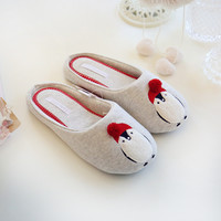 Cotton Cute Penguin Animal Pattern Home Slippers Women Indoor Shoes For Bedroom House Adult Guest Warm Winter Soft Bottom Flats