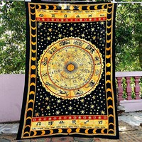 Universe Horoscope Zodiac Sign Celestial Indian Tapestry