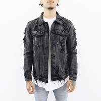 Denim Distressed Jacket (Black)