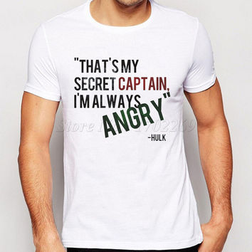 2017 Hot Sales High Quality Men's Short Sleeves T-shirt Funny Letter Printed Male Tops I Love Hawkeye Avengers Boys Tee