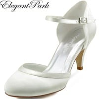 Women Shoes White Ivory Mid Heel Closed Toe Mary Jane Buckle Pumps Satin Lady Dress Shoes Woman Wedding Bridal Shoes HC1509