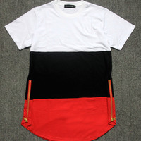 summer style mens t shirts white black red patchwork golden side zipper swag t shirt streetwear hip hop t shirts extended tees