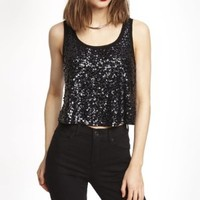 SEQUINED CROPPED SWING TANK