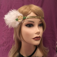 1920's gold green flower sequin glitter flapper headpiece off-white ostrich feather 20s headband head Gatsby leaf satin downton abbey (663)