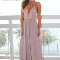 Winter Gray Maxi Dress with Floral Embroidery