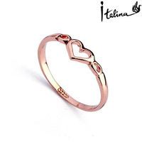 Italina Heart Rings for Women 18K gold Plated