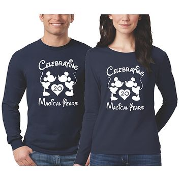 Anniversary Shirts for Couples Personalized - Long Sleeve - Blue