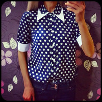 Lapel Long-Sleeved Blouse with Polka Dot