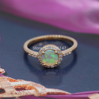Yellow Fire Opal 925 Gold plated Ring
