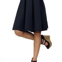Solid Long Knee Length Elastic Waistband Pleated Skater 11086 Skirt Black White
