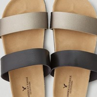AEO Women's Colorblock Double Strap Sandal (Black)