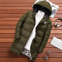 ADIDAS 2018 winter new trend thickening men's cotton coat long down jacket green