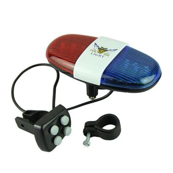 Bicycle Bell 6 LED 4 Tone Bicycle Horn Bike Call LED Bike Police Light Electronic Siren Kids Safety bell for Bike Scooter #2a#F