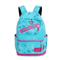 Vere Gloria Men Women School Backpacks Striped Canvas Hiking Daypacks High Middle College School Students Rucksacks, Fit for 14 Inches Laptop (light-blue)