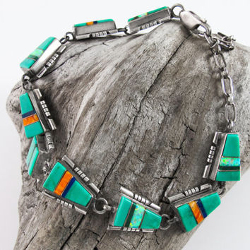 Vintage Native American Zuni Navajo Multi Stone Turquoise Spiny Oyster Opal Etc Mosaic Micro Inlay Link Panel Chain Sterling Silver Bracelet