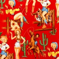 1/2 Yard Quilt Fabric Back In the Saddle Western Girls Horses Red