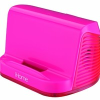 iHome Portable Stereo Speaker System for iPad/iPod/MP3 Players (Pink Neon)