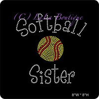 Softball Sister Iron on Rhinestone Transfer - DIY Transfer - Hot fix motif appliqué - bling - hotfix for t shirts and tees hot fix shirts
