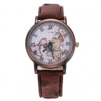 Leather Strap Watches For Women Retro Roman Number Copper Alloy Quartz Wristwatch Plate Map Surface Watch Gift
